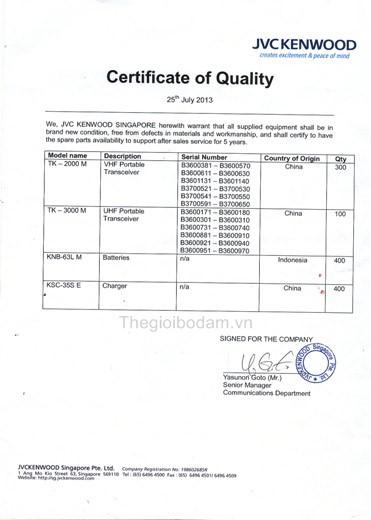 giấy chứng nhận chất lượng máy bộ đàm kenwood