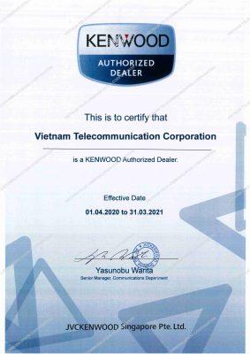 Chứng nhận đối tác phân phối bộ đàm Kenwood chính hãng tại Việt Nam của Vietnam Telecom