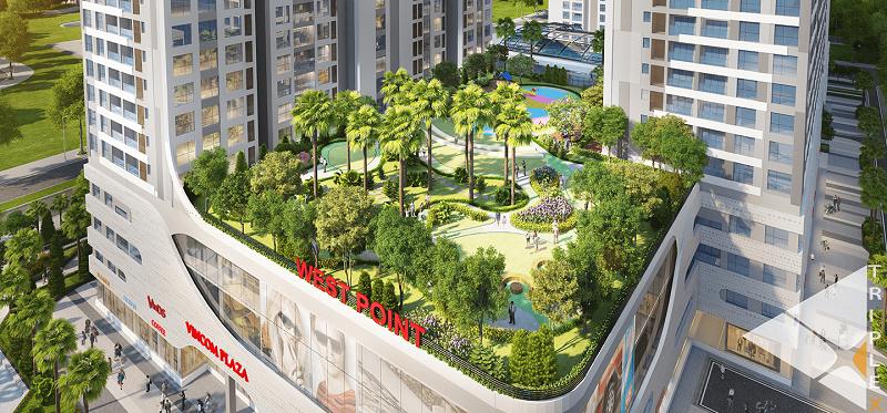 Cảnh quan sân vườn trên cao là khu vui chơi lý tưởng của cư dân