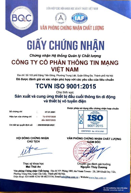 Chứng nhận ISO của Vietnam Telecom