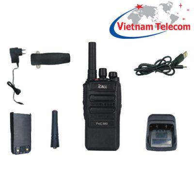 Bộ đàm 4G iCALL PoC380 LTE với các phụ kiện đi kèm