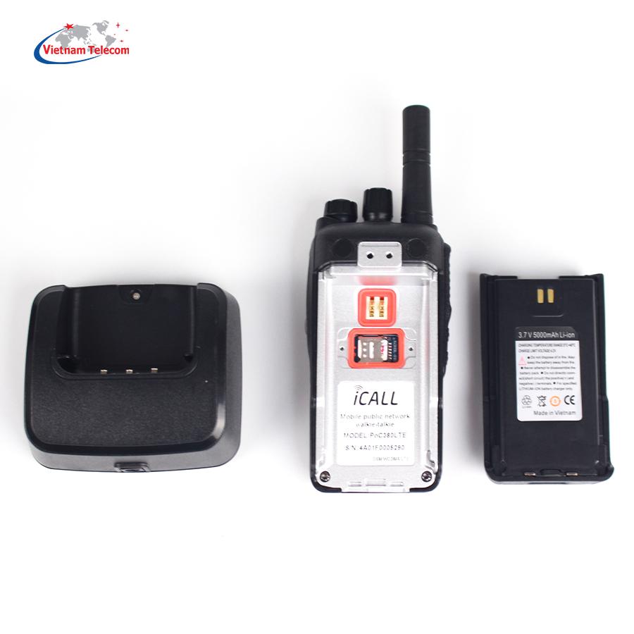 Bộ đàm iCALL PoC380 LTE cùng phụ kiện